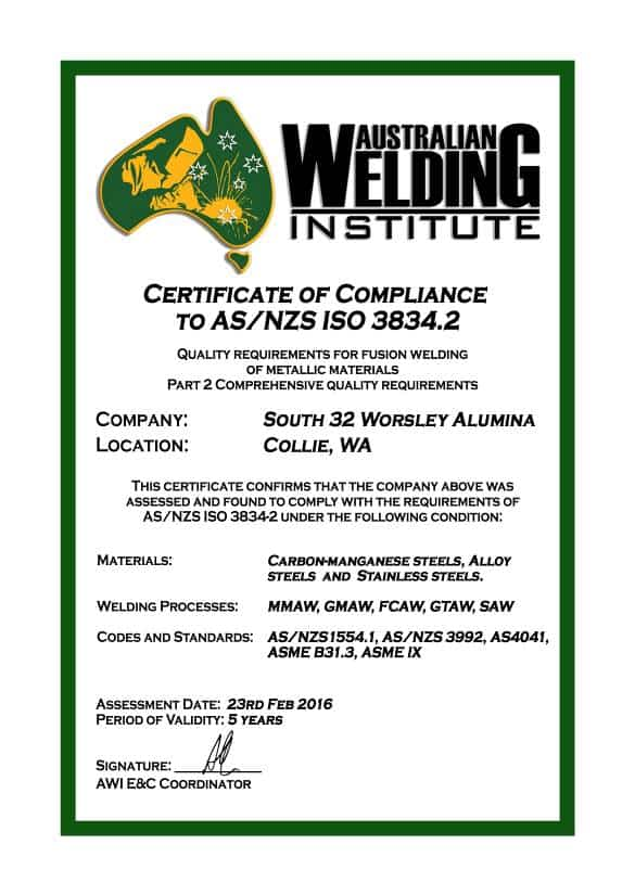 AS/NZS ISO 3834 – South 32 Success Story - Australian Welding Institute