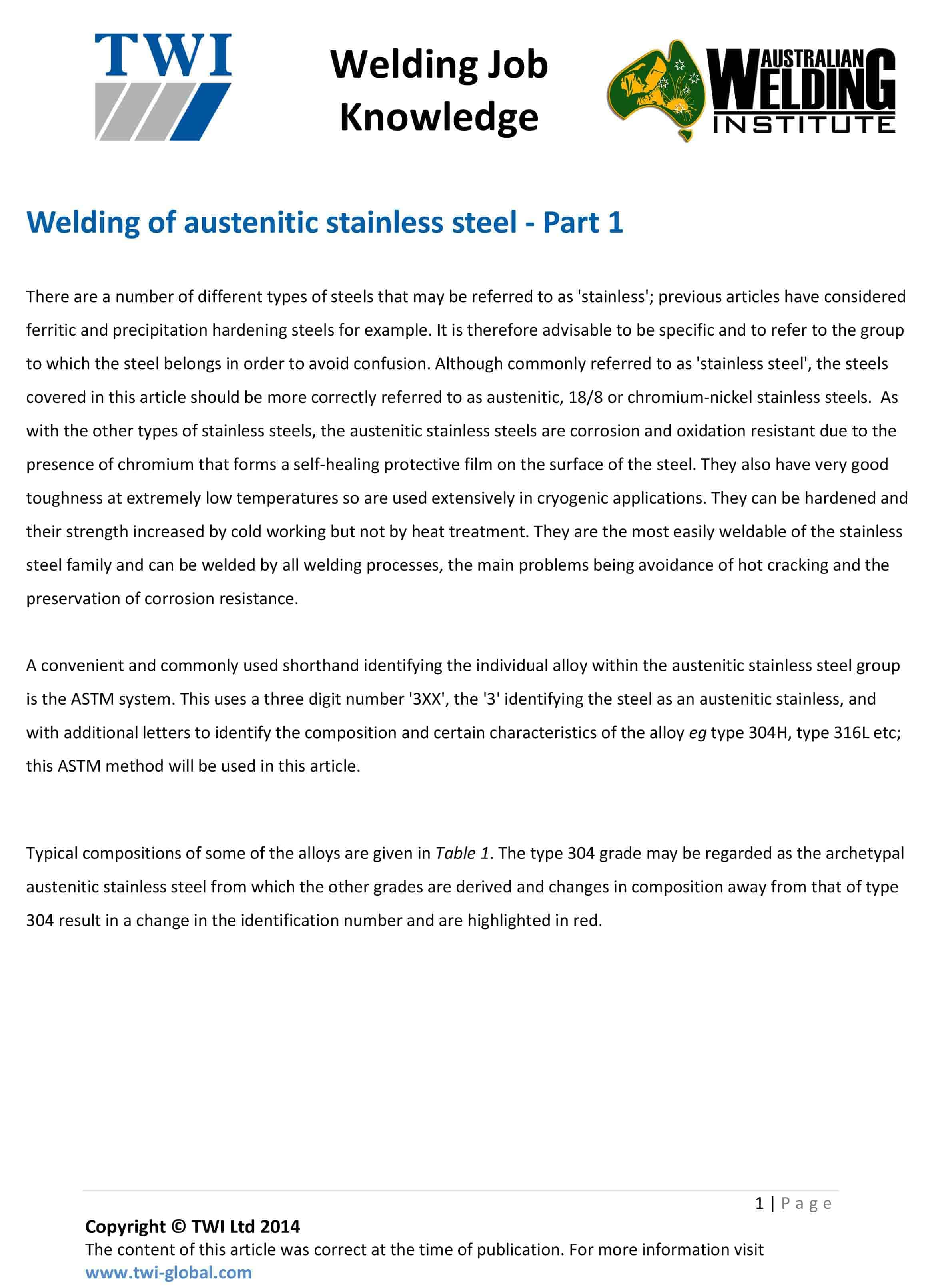 WELDING OF AUSTENITIC STAINLESS STEEL PART 1